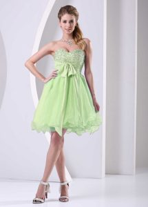 Yellow Green Sweetheart Girl Pageant Dress in Organza with Sash and Beads