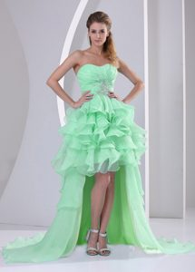 High-low Sweetheart Pageant Suits with Beadings and Layers in Apple Green