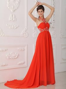 Empire Halter-top Red Girl Pageant Dress with Ruches and Beads in Chiffon