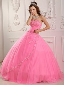 Inexpensive Sweetheart Pageant Dresses Patterns with Appliques in Rose Pink