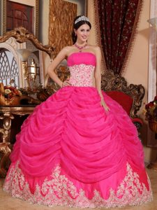 Hot Pink Strapless Pageant Dresses for Girls with Ruches in Lace and Organza