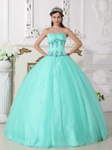 Sweetheart Beading Interview Pageant Dresses with Appliques in Apple Green