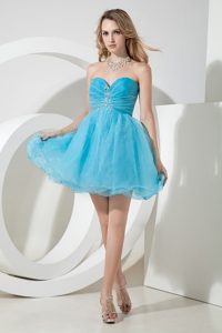 Sweetheart Mini-length Miss Universe Pageant Dress with Beads in Aqua Blue