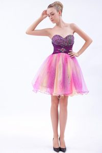 Multi-colored A-line Mini-length Pageant Dress with Beaded Sweetheart Neck