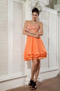 Custom Made Orange Empire Sweetheart Pageant Dress Pattern in Chiffon