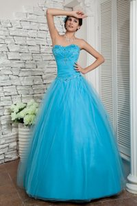 Sweetheart Beaded Elegant A-line Tulle Dress for Pageants in Aqua Blue