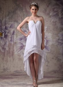 Cheap V-neck High Low Chiffon Pageant Dresses for Miss World in White