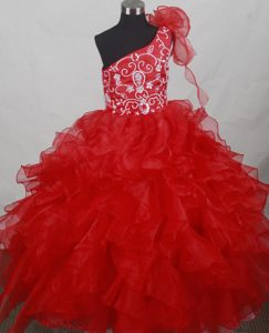 Provocative Red One Shoulder Little Girl Pageant Dresses with Embroidery