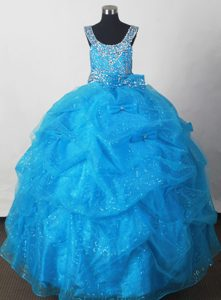 Extravagant Blue Little Girl Pageant Dress with Pick-ups and Beading in Tulle