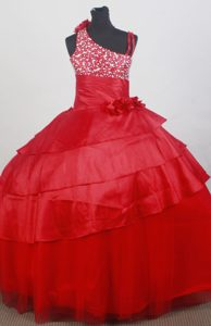 Romantic Asymmetrical Red Beaded Little Girl Pageant Dress with Flowers