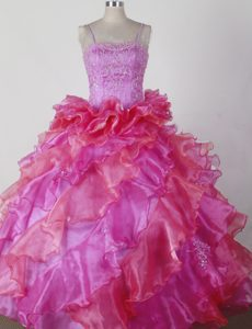 Exquisite Spaghetti Straps Little Girl Pageant Dress with Beading and Ruffles