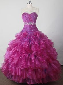Bright Sweetheart Fuchsia Dresses for Little Girl with Beading and Ruffles