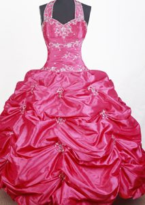 Best Halter Top Red Little Girl Pageant Dress with Embroidery and Beading