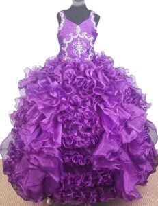 Wonderful V-neck Glitz Little Girl Pageant Dresses with Beading and Ruffles