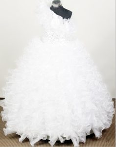 High Quality One Shoulder Little Girl Pageant Dress with Ruffles and Beading