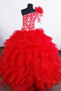 Good Quality Red Youth Pageant Dress with Ruffled Layers and Embroidery