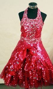 Dramatic Red Halter Top Floor-length Dress for Little Girl in Sequin Fabric