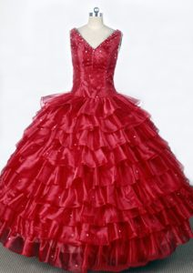 Floating Little Girl Pageant Dresses with Ruffled Layers and Beading in Red