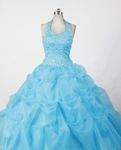 Halter Top Dressy Baby Blue Little Girl Pageant Dress with Beading on Sale