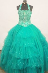 Turquoise Halter Top Zipper-up Ruffled Classical Pageant Dress with Beading