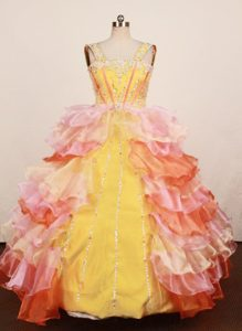 Memorable Multi-color Ruffled Long Miss Universe Pageant Dress with Straps