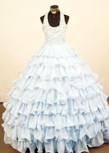 Popular Halter Floor-Length Organza Light Blue Pageant Dress for Miss World