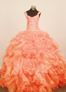 Ruffled Orange Red Zipper-up Exquisite Pageant Dresses for Miss America