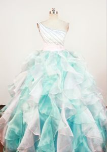 Impressive A-line Beaded Organza Long Beauty Pageant Dresses in Multi-color