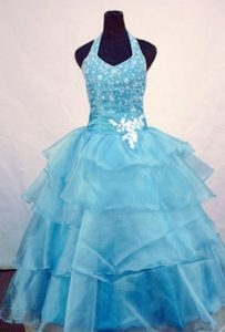 Charming Halter Top Beaded Floor-length Youth Pageant Dresses in Light Blue