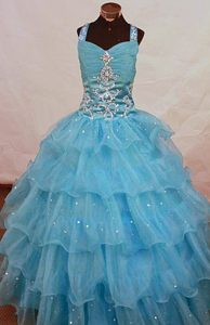 Ruched and Beaded Organza Natural Beauty Pageants Dresses in Aqua Blue