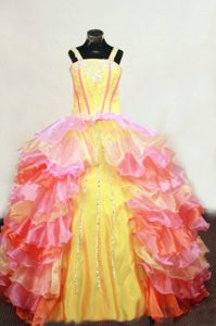 2013 Classical Ruffled Multi-color Beaded Interview Pageant Suits with Straps