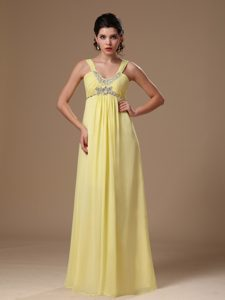 Light Yellow Straps Empire Beaded Chiffon Pageant Dress for Miss America