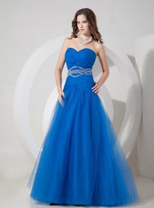 Beautiful Blue A-line Sweetheart Tulle Beaded and Ruched Pageant Dresses
