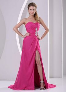 High Slit Hot Pink Sweetheart Pageant Dresses with Appliques and Ruching