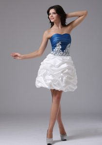 Blue and White Pageant Dress with Appliques and Pick-ups for Custom Made