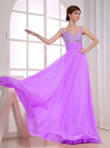 Beautiful Beaded Empire Straps Lavender Pageant Dress for Girls for Cheap