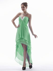 Green High-low V-neck Pageant Dresses for Custom Made on Wholesale Price