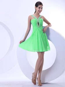 Bright Spring Green Beaded V-neck Mini-length Pageant Dress on Promotion