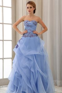 Blue Sweetheart Pageant Dresses with Appliques and Ruching on Promotion