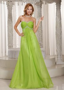 Popular Green Sweetheart Beaded and Ruched Pageant Dress on Promotion