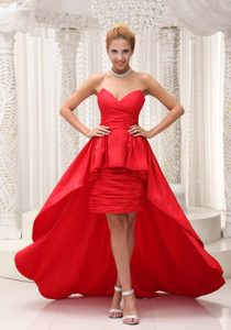 Attractive Red High-low Taffeta and Chiffon Sweetheart Pageant Dress on Sale