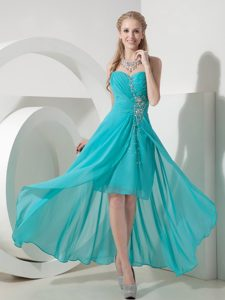Sweet Turquoise High-low Sweetheart Chiffon Beaded Pageant Dress on Sale