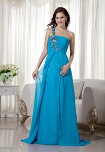 Blue Empire One Shoulder Chiffon Ruched Pageant Dresses with Appliques