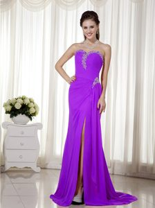 2014 Purple Column Sweetheart Chiffon Beaded Pageant Dress with High Slit