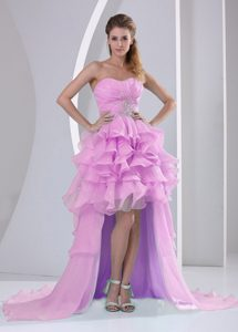 Pink High-low Sweetheart Ruched Pageant Dresses with Beading and Ruffles