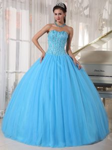 Aqua Blue Sweetheart Tulle Beaded Pageant Dress for Miss America on Sale