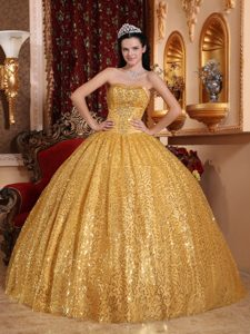 Gold Sweetheart Beaded Pageant Dress for Miss America with Sequins on Sale