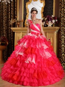 Red One Shoulder Organza Pageant Dress with Ruffles and Beading on Sale