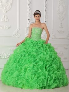 Pretty Green Strapless Organza Beaded Pageant Dress with Ruffled Layers