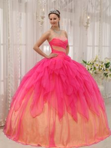 Beautiful Hot Pink Strapless Organza Beaded Pageant Dresses on Promotion